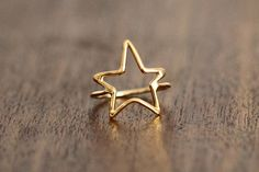 Gold STAR Ring, Most Sizes Ready to Ship. $62.00, via Etsy.