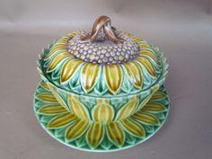 Wedgwood Majolica Sunflower Covered Dish