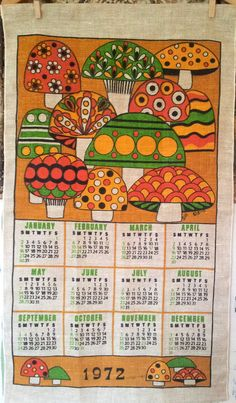 Home Decoration Ideas Rustic .Home Decoration Ideas Rustic Vintage Kitchen Decor, Vintage Decor, Vintage Calendar, Vintage Love, Retro Vintage, 70s Kitchen, Kitchen Ideas, 70s Decor, Mushrooms