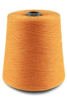 Linen yarns in vibrant orange colour.