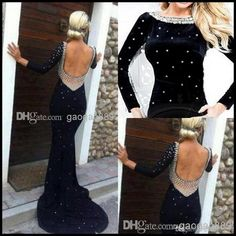 Wholesale Evening Dress - Buy 2014 Hot Black Backless Bateau Long Sleeve Beads Sexy Evening Celebrity Goens Sheath Mother Party Pageant Dress Christmas 2013 $159.8 | DHgate