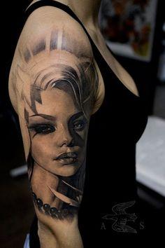 Beautiful portrait tattoo by Alex Sorsa