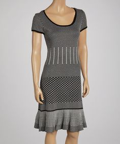 Another great find on #zulily! Black & Ivory Geometric Scoop Neck Dress - Women by Gabby Skye #zulilyfinds
