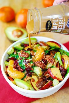 Apple Cranberry Spinach Salad with Pecans, Avocados | Substituted Seseme Seed Vinaigrette | My new Fall salad favorite! Picked at all the left over yummies. Avocados in salads are divine!!!!