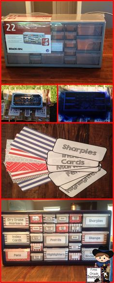 Easy-to-make teacher toolbox.  Grab a plastic toolbox from Home Depot, add some spray paint and labels, and you're ready to get organized!  Fun DIY project for classroom organization.