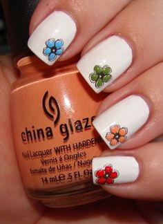 Flowers on your fingernails - Nail Art - white with colored flowers