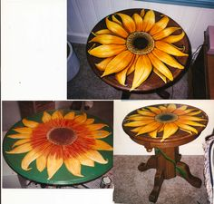 Orange Resin Sunflower Table Flower Power 1967 By Hendeys
