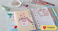 Baixe grátis e imprima acessórios para planner. Cartela de stickers e divisória dupla com bolsos.
