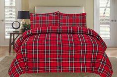Red+Plaid+Comforter+Set | Plaid Red Down Alternative Comforter Set Full/Queen