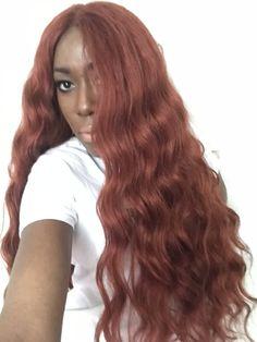 Ginger hair, 350 hair on dark skinned girl Kima Ocean Wave, Crochet Wigs, Business Hairstyles, Wig Making, Ginger Hair, Long Hair Styles, Dark, Beauty, Red Hair Color