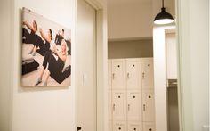 Bar Method, Lake Oswego OR, Modern studio design, white and black, locker, pendant, Design and Construction by Emmett Phair, Design-Build