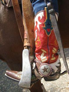 "The custom Rocketbuster boots that inspired my custom ""Little Buckaroo"" sign. ©LauraLambrix"