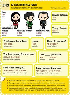 Korean Hangul Describing Age