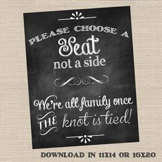 Choose a Seat Not a Side Wedding Ceremony Sign - Printable PDF by DesignsbyDVB, $7.99 USD