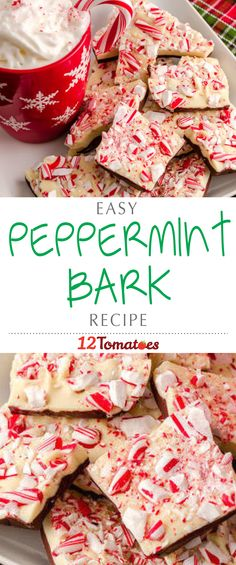 Easy Peppermint Bark: It's a great treat that is easy to portion, and if you have any events you are going to or parties you are hosting, it makes for a festive, decorative treat to lay out as a snack. Christmas Deserts, Holiday Snacks, Christmas Treats, Holiday Recipes, Diy Christmas, Candy Recipes, Snack Recipes, Cooking Recipes, Bark Recipe