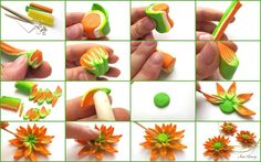 Polymer Clay Flower Tutorial using Millefiori Caned Petals