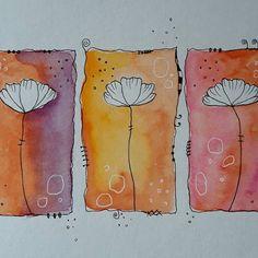 Watercolor Paintings For Beginners, Watercolor Projects, Watercolor And Ink, Watercolour Painting, Painting & Drawing, Watercolors, Dandelion Drawing, Happy Paintings, Flower Doodles