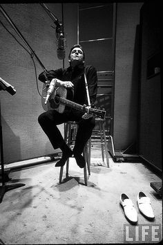 Johnny Cash in studio, Nashville, 1969, by Michael Rougier