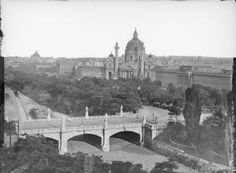 Elisabeth bridge over the river Wien, before the construction of Karlsplatz Over The River, Vienna Austria, Old World, Paris Skyline, History, City, Photographs, Pictures, Construction