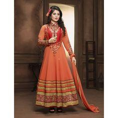 Rimi Sen Orange Georgette #Anarkali Suits With Dupatta- $42.08