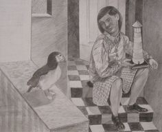 Puffin, A pencil drawing by Michael Kirkman.