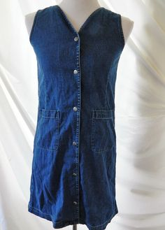 Women's Denim Blue Jean Dress Classic Blues Collection Snap Front Sleeveless L…