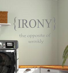 Laundry Room IRONY Vinyl Wall Decal Home Decor by landbgraphics, $18.00