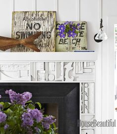 love this fireplace surround, made of scrap wood from the remodel