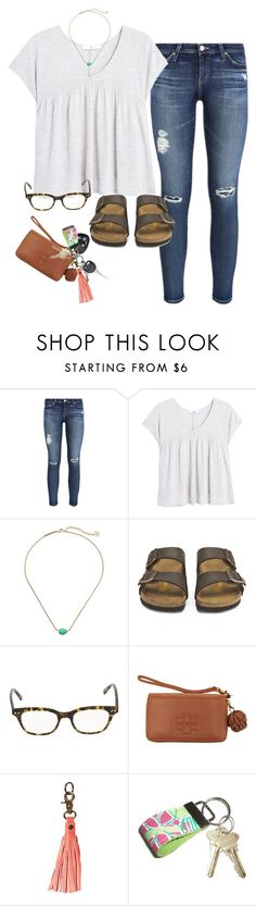 """""""Untitled #608"""" by prep-lover1 ❤ liked on Polyvore featuring AG Adriano Goldschmied, MANGO, Kendra Scott, Birkenstock, Kate Spade, Tory Burch, Anuschka and Lilly Pulitzer"""