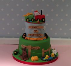 A farm themed birthday cake for 9 year old twins; Ewan and James! www.vintagehousebakery.co.uk