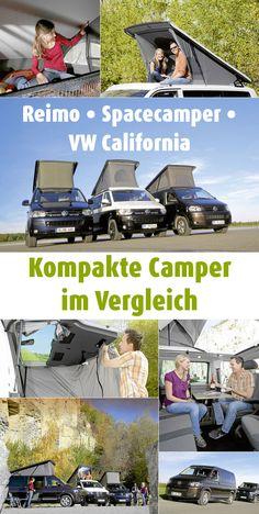 Ausbauideen für den beliebten VW T5 gibt es viele. Hier sind drei davon. Reimo City Van, Spacecamper Light und VW California Beach sorgen für Freiheit und Freizeitspaß – dank #Dachzelt, Hubbett und mehr. #Campingbus #Hochdach #Test