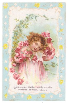 Ellen Clapsaddle Bible Card - Girl Showers Herself with Roses