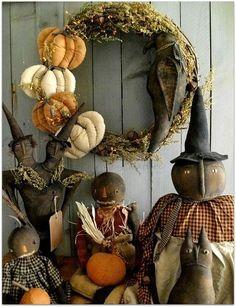 Prim*by*Nature ~ Handmade Primitive Folk Art Primitive Fall Crafts, Primitive Halloween Decor, Primitive Autumn, Primitive Pumpkin, Primitive Folk Art, Primitive Fall Decorating, Farmhouse Halloween, Halloween Doll, Holidays Halloween