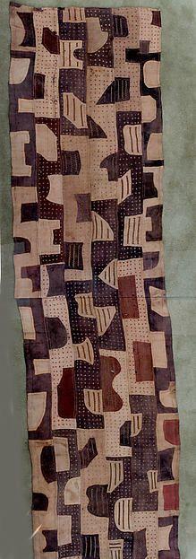 Ceremonial Wrapper  20th c. Democratic Republic of the Congo, Sankuru River region. Kuba peoples Raffia palm fiber, pigment Dimensions: W. 28 3/4 x L. 238 in. (73 x 604.5 cm)