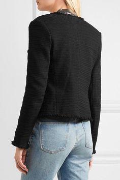 L'Agence - Jules Frayed Bouclé Jacket - Black - US2