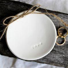 LOVE  Round Wedding Ring Keeper, Ring Dish, Heirloom, Keepsake, Alternative Ring Pillow, Embossed White Clay