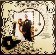 Wedding photo scrapbook page Black and white wedding scrapbook