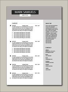 Immediately download this Free CV template. This example is in Microsoft Word (DOC) format, easy to edit, printable and can be fully customised. Ideal for any job application. #CV #template #Resume #Free #Job #application #MS #Word #Download #Professional #Example Cv Resume Template, Resume Cv, Any Job, Job Title, Word Doc, Microsoft Word, Company Names, Sentences, No Response