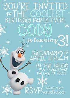 OLAF BIRTHDAY INVITATION, Frozen Birthday Invitation Printable, Birthday Invitations, Boy Birthday, Girl Birthday, Olaf Invitation by LitlenEvents on Etsy https://www.etsy.com/listing/229587874/olaf-birthday-invitation-frozen-birthday