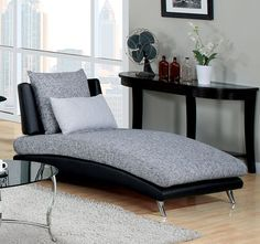 SKU cm6111 contemporary armless chaise, fabric and faux leather, accent pillows, chrome legs.