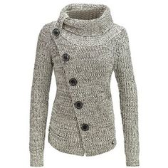 Chic Long Sleeve Turtleneck Button Design Knitted Women's Jacket