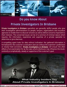 Your case is so important and you can not lose that you need to help of best Private Investigators In Brisbane. Agency99 specialized in so many services like Missing Persons, Undercover Operations, Surveillance, Internet Investigations, Background Asset Checks, etc.