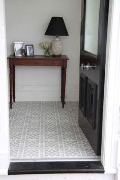 For when we eventually do the entrance hall, I want grey floor tiles. Jatana - Grey Tiles in the hallway. Hall Tiles, Tiled Hallway, Grey Hallway, Entryway Tile Floor, Modern Hallway, Hall Flooring, Kitchen Flooring, Kitchen Floor Tiles, Kitchen Backsplash