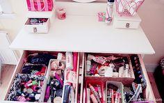 Makeup Drawer Storage girly cute makeup pretty organize organization organizing organizing ideas drawer storage