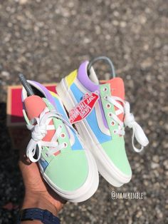 Custom pastel colored old Skopje vans 😍❤️ Vans Sneakers, Vans Customisées, Sneakers Fashion, Sock Shoes, Shoe Boots, Shoes Heels, Van Shoes, Look Patches, Pastel Vans