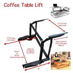 Details about Lift Top Coffee Table DIY Mechanism Hardware Lift Up Furniture Hinge Spring B - Furniture projects - Wood Coffee Table Lift Up Coffee Table, Lift Table, Diy Coffee Table, Coffee Table Design, Coffee Table Storage, Coffee Mugs, Coffee Shops, Coffee Beans, Furniture Hinges