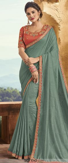 Sage Green Silk Plain Saree with Designer Blouse Blouse Styles, Blouse Designs, Party Wear Sarees Online, Saree Models, Indian Beauty Saree, Indian Ethnic Wear, Green Silk, Long Blouse, Festival Wear