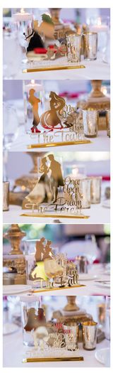 Adorable Disney couple inspired table names at a Disneyland reception.
