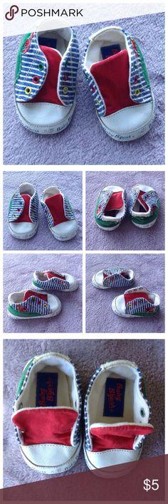 Baby B'gosh Slip On Soft Sneakers 0 Baby B'gosh. Multi color slip on soft sneakers for baby. Upper leather & fabric. EUC. Size 0 Baby B'gosh Shoes Baby & Walker