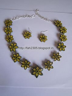 Handmade Jewelry - Paper Quilling Flower Jewelry Set (FAH0134) (3) - To buy contact : fah2305@yahoo.co.in